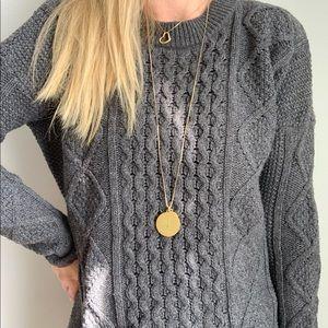 Madewell gray honeycomb knit sweater m medium